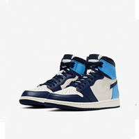 Nike Air Jordan AJ AJ1 Retro High Obsidian UNC 2019 Top 1 Retro High-Obsidian-Basketball-Schuhe UNC Designer Schuhe SAIL / OBSIDIAN-UNIVERSITY BLUE 555088-140 40-46 mit dem Kasten