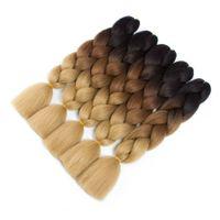 Ombre Kanekalon Sentetik Tığ Saç Uzantıları Jumbo Örgüler Saç Modelleri Pembe Sarışın Kızıl Mavi Örgü Saç 24inch 100g / paketi