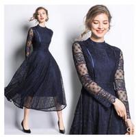 높은 허리 큰 확장 맥시 밖으로 중공 유럽 패션 디자인 2020 새로운 여성의 O-목 긴 소매 레이스 긴 M L XL XXL vestidos 드레스