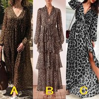 Fashion Leopard Print Maxi Dress Women' s Summer Sundres...