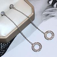 Fine Jewelry Lange Troddel-Ohrring Populäre 925 Sterlingsilber Kreis Princess Cut White Sapphire CZ-Diamant-Edelstein-Frauen-Brautohrring