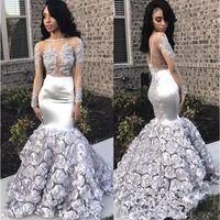 Splendida rosa fiori Mermaid Prom Dresses 2019 Appliques Beads Sheer manica lunga abito da sera argento elastico Satin robes de soirée