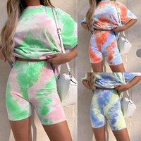 Летняя женская плюс размер одежды дизайнера 2 два кусок одежды набор Tie-краситель цвета градиента потерять футболку велосипедиста шорты спортивные костюмы одежды