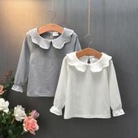 Bebé cabrito chica suéter de manga larga blusa de la camiseta de algodón volante camiseta Tee ropa