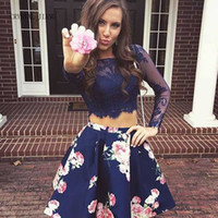 Real Photos Girls Floral Long Sleeves Short Lace Homecoming ...