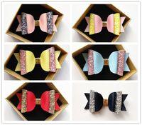 Moda 12PCS Belle ragazze PU-Leather Glitter patchwork Grandi fiocchi di neve 10,5 cm Forcine Simpatici bambini Rosa Giallo Accessori per capelli all'ingrosso