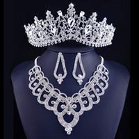 Brud smycken sätter bröllop halsband örhängen sätta kvinnor prom tiaras och kronor bröllop halsband örhängen sätter smycken