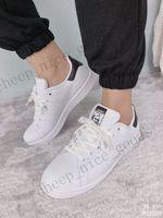 diseñador de Nueva smith mujeres de los hombres zapatos casuales color verde, negro, blanco rosado azul rojo de cuero para hombre de la moda del zapato Stan pisos zapatillas de deporte de tamaño 36-45