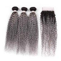 Silanda 헤어 핫 세일 #t 1b / 회색 변태 곱슬 레미 인간의 머리 짜기 3 개의 Weft Weaving Bundle 4x4 레이스 클로저 무료 배송