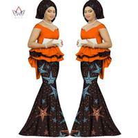 Весна юбка набор африканскую разработан одежды традиционной Базен печати Базен Riche плюс размер юбки набор вечернее платье WY1312