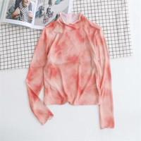 Estilo Moda Desinger primavera camisetas Crew Neck manga comprida Vestuário Feminino New Verão Casual Vestuário tinta do estilo Womens