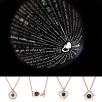 100 Kinds Language I Love You Necklace Shadow Heart Necklace...