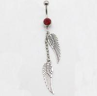 Vintage Angel Wings Quaste Bauchringe Kristallknopf Body Piercing Schmuck Ohrringe in Nabelring