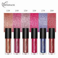 NICEFACE 6 색 다이아몬드 샤인 메탈릭 립스틱 액상 방수 24H 지속 립 글로스 페인트 문신 섹시한 누드 안료 화장품