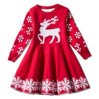 Otoño Navidad Niñas Vestido Elk Copo de nieve Impreso Tejido Mangas largas Falda Vestidos de Navidad Trajes Diseñador de niños Ropa 2 Colores M444