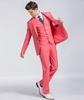 Watermelon Red Groom Tuxedos Notch Lapel One Button Center V...