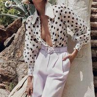 Yeni Celmia Kadınlar Dalga Noktası Bluz Gömlek Uzun Kollu Düğmeler Casual Gevşek Polka Dot Çalışma Üst Artı Boyutu Blusas Femininas