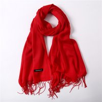 Women solid red shawl cashmere 190*30cm shawl cashmere scarv...