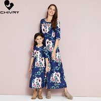 Roupas de correspondência da família 2021 verão mãe filha vestidos meia manga floral impressão maxi vestido mamãe e roupas de sundress