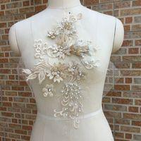 39 cm * 26 cm Inci Işlemeli Dantel Trimler Gelinlik Dantel Kumaş 3D Boncuklu Dantel Aplike DIY Elbise Dikiş El Sanatları LP007