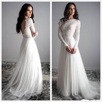 Bohemia Uzun Kollu Dantel Gelinlik Tül Backless Açık Gelin Elbise Vintage Uzun Gelinlikler vestidos de Novia