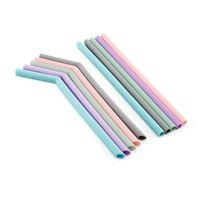 Dia 10mm wiederverwendbare silikonstrohe lebensmittelqualität silikon trinkhalme für home party barware zubehör zc0289