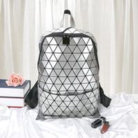 Al por mayor - baobao de diseño geométrico de los diamantes de la PU brillante personalidad Montañismo bolsa Estudiante creativo de escolar al aire libre del morral del recorrido