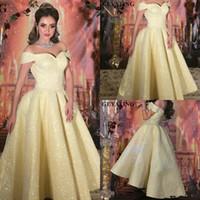 Zuhair Murad amarelo Prom vestidos fora do ombro A Linha Lace Glitter Vestido Cocktail Party vestidos Tea Duração Wear ocasião formal