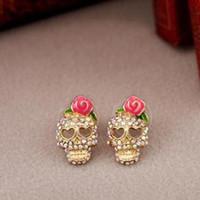 할로윈 액세서리 황금 해골 레드 로즈 귀걸이 인기 펑크 스타일 귀걸이 여성 할로윈 보석 할로윈 뼈 목걸이