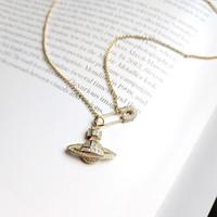 925 Sterling Silber Pin Planet Zirkon Halskette aus Gold Mode Kreativität exquisite Planeten Halskette für Frauen edlen Schmuck