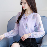 2019 Spring Long Sleeve Feather Embroidery Chiffon Blouses W...