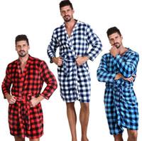 Hombres Buffalo Plaid baño de 7 colores del vestido de franela suave Medio camisón largo invierno caliente Inicio Robes LJJ_OA6738