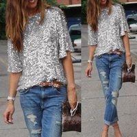 2019 패션 캐주얼 새로 여름 여성 T 셔츠 반소매 O-넥 풀오버 스팽글 고체 느슨한 셔츠 3 스타일 탑