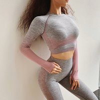 Women Yoga Shirts Ombre Dipped Seamless Long Sleeve Top Runn...