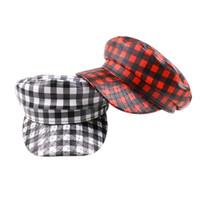2020 nuevo de la manera capitán del barco del marinero sombrero militar en punta del sombrero PU gorra de béisbol sombreros de las señoras de la boina del sombrero del enrejado