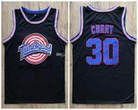 Stephen Curry # 30 Space Jog Tune Squad Movie Noir Black Retro Jersey de basketball masculin sur mesure Toute nom Nom Nom Jerseys