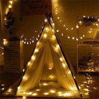 80 LED 10M Estrella Estrella alambre cadena luces LED Luz de Navidad decoración de la boda de Navidad luces de la batería Operar Centella