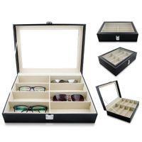 صندوق تخزين النظارات النظارات الشمسية مع نظارات جلد النافذة التقليد عرض القضية التخزين المنظم جامع 8 فتحة