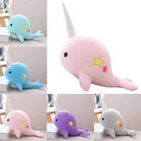 Plush Narwhal Toys Cute Stuffed Fish Doll Whale Plush Pillow...