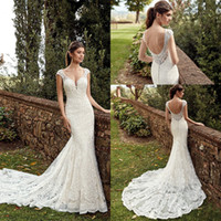 Vintage Scoop Neckline Lace Mermaid Abiti da sposa 2019 Cap maniche Backless Button Cover posteriore vestido de novia Abiti da sposa Sweep Train