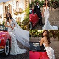 2020 ELIHAV Sasson Feder Brautkleider mit Wrap Spitze Applique Spaghetti Böhmisches Hochzeitskleid Sexy Backless Boho Braut Kleid