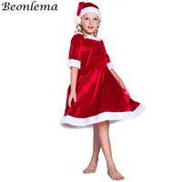 Tema Kostüm Beonlema Noel Kızlar Için Tatil Rol Oynarken Kısa Kırmızı Elbise Çocuk Kawaii Kutlama Parti Disfraz S-L