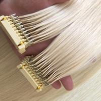 Новые продукты 2019 Высококачественные двойные кутикулы выравниваются REMY волосы 6D предварительно связанные человеческие наращивания волос # 613 настраиваемый цвет