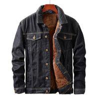 Mens inverno giacca e cappotto caldo pile Giacca di jeans Moda Uomo Jean Giacche Outwear maschile Cowboy Asiatica Misura M-5XL