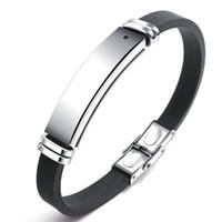 Acero inoxidable Engravable pulsera hombres brazalete de identificación energía saludable Piedra Negro terapia magnética pulsera de silicona ajustable Tamaño PH1276