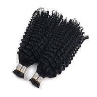 Brasilianische Jungfrau-Haar-I-Spitze-Menschenhaar-Verlängerungen 1g / s 100g natürliche schwarze Farbe verworrene lockige Keratin-Stick 100% Huaman Haar