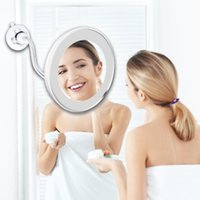 10X LED Mirror Makeup Mirror Flexible Mirror illuminated Magnifying Vanity Mirrors with Light Make up Miroir Bathroom Mirrors