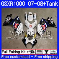 SUZUKI GSX R1000 용 키트 + 탱크 화이트 핫 GSXR-1000 GSXR 1000 2007 2008 301HM.60 GSX-R1000 07 08 바디 K7 GSXR1000 07 08 페어링 7 개 선물