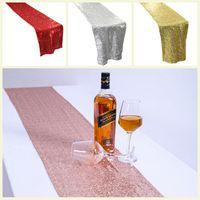 Chemin de Table Table Tissu Tissu Or Argent Sequin Nappe Sparkly Table couverture pour Bling de soirée de mariage Décoration