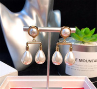 Luxury wedding designer jewelry earrings Simple pearl pendan...